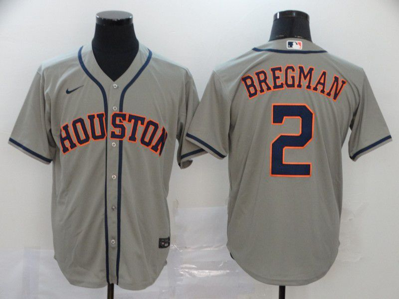 Men Houston Astros 2 Bregman Grey Nike Game MLB Jerseys