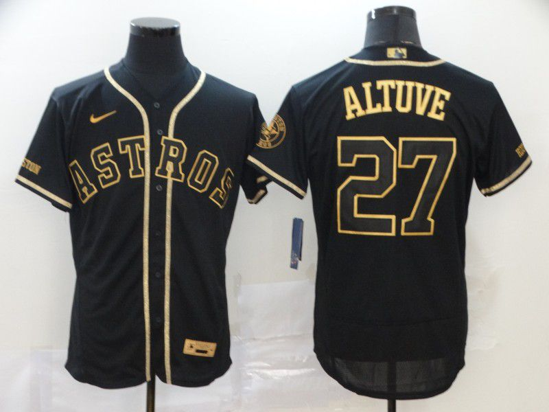 Men Houston Astros 27 Altuve Black Retro gold character Nike MLB Jerseys