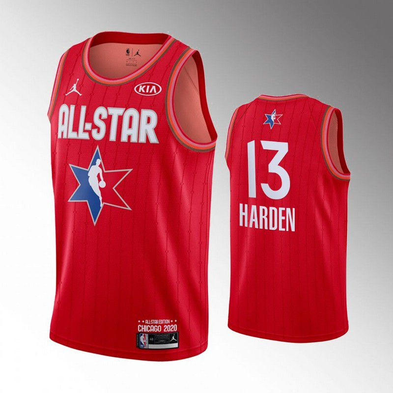 Men Houston Rockets 13 Harden Red 2020 All Star NBA Jerseys