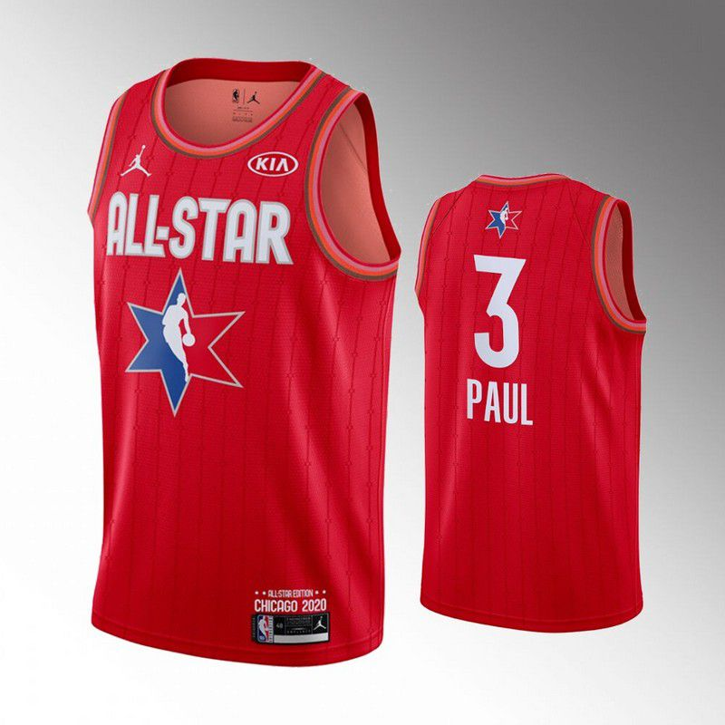 Men Houston Rockets 3 Paul Red 2020 All Star NBA Jerseys