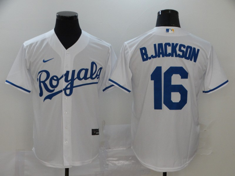 Men Kansas City Royals 16 B.Jackson White Nike Game MLB Jerseys
