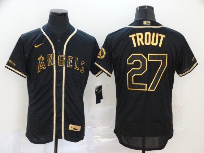 Men Los Angeles Angels 27 Trout Black Retro gold character Nike MLB Jerseys