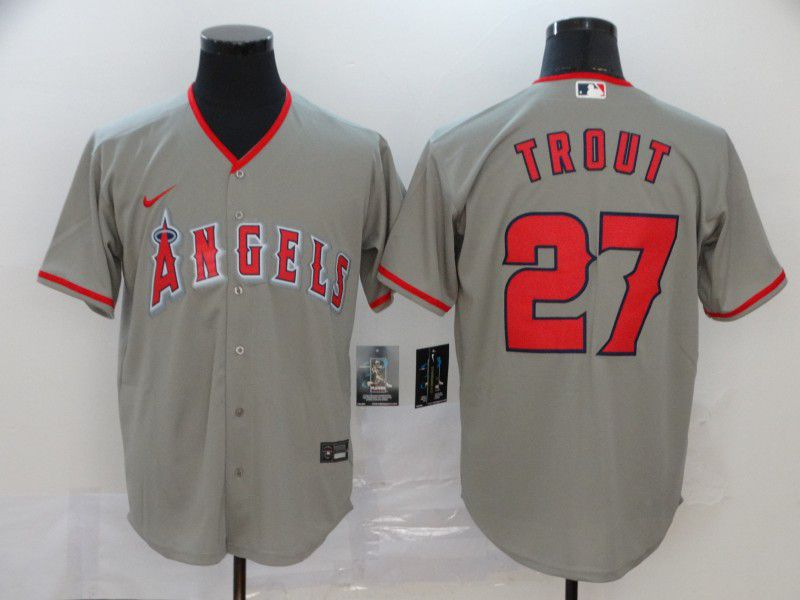 Men Los Angeles Angels 27 Trout Grey Nike Game MLB Jerseys