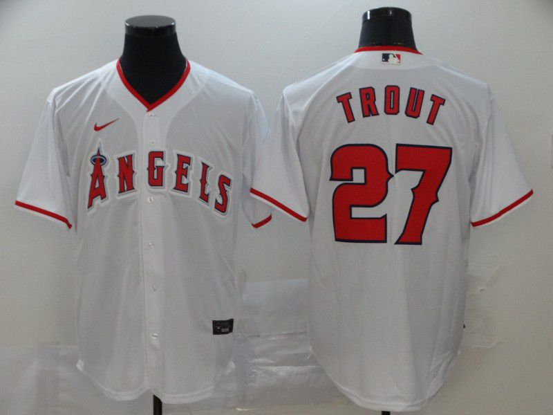 Men Los Angeles Angels 27 Trout White Nike Game MLB Jerseys