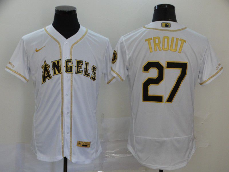 Men Los Angeles Angels 27 Trout White Retro gold character Nike Elite MLB Jerseys