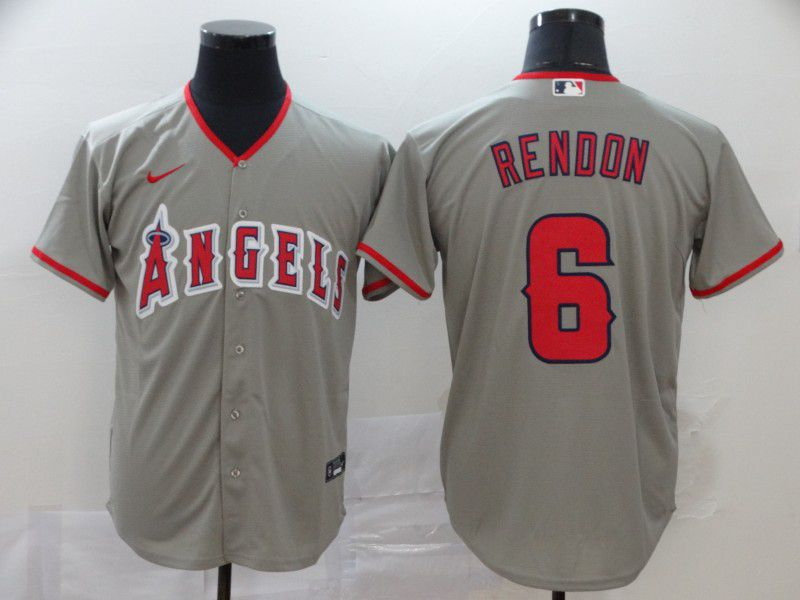 Men Los Angeles Angels 6 Rendon Grey Nike Game MLB Jerseys