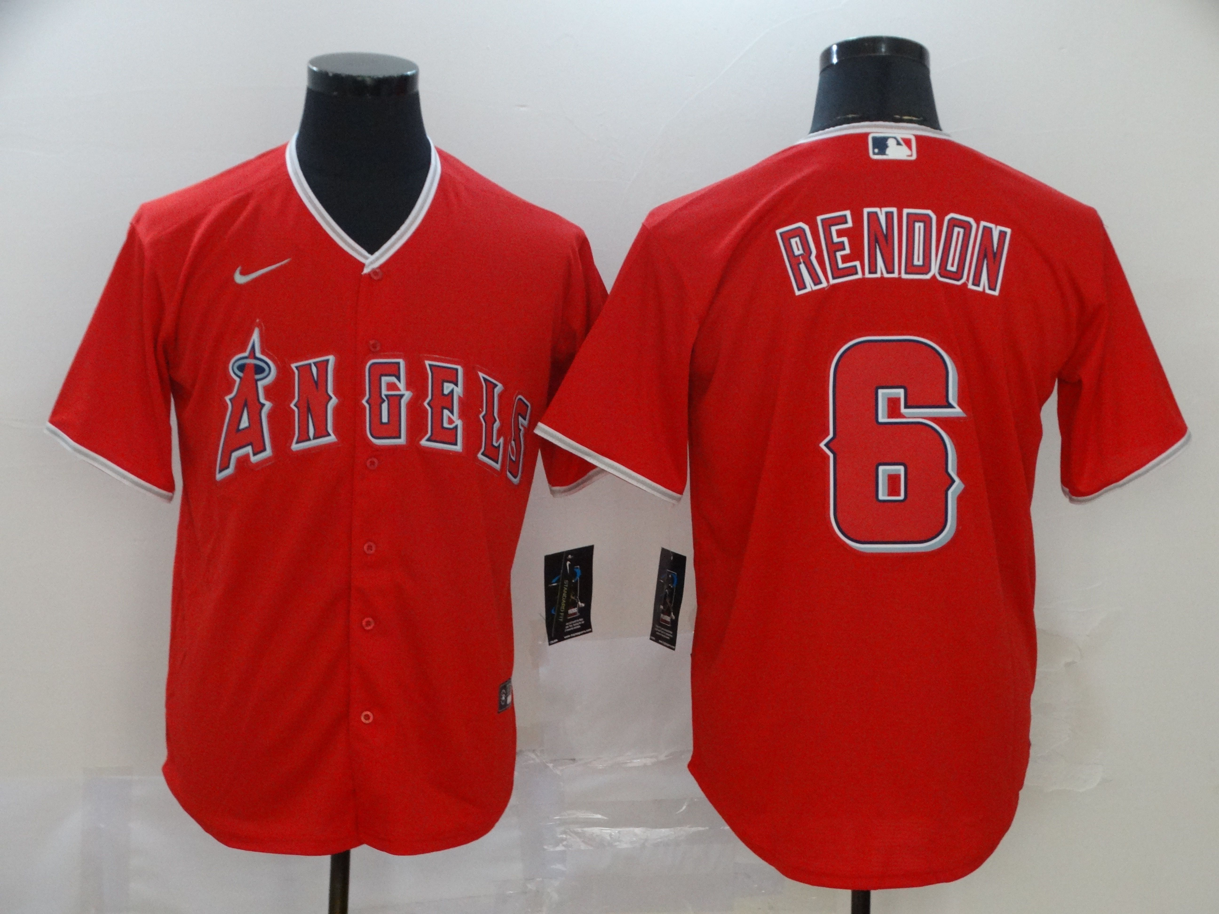 Men Los Angeles Angels 6 Rendon Red Nike Game MLB Jerseys