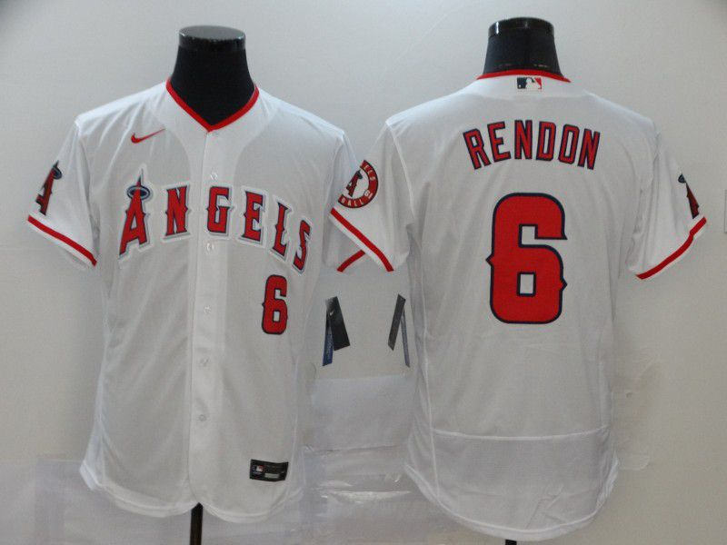 Men Los Angeles Angels 6 Rendon White Nike Elite MLB Jerseys