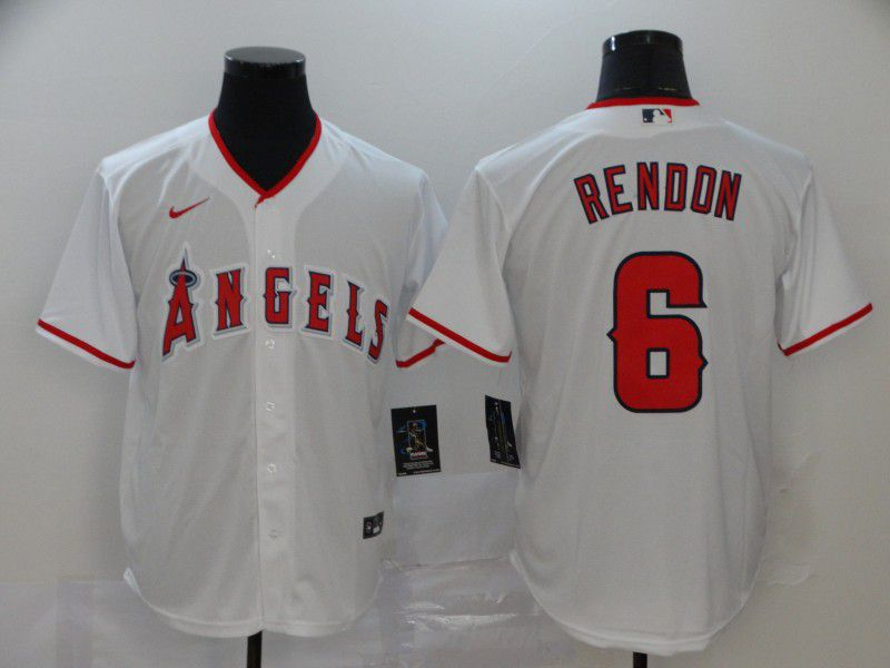 Men Los Angeles Angels 6 Rendon White Nike Game MLB Jerseys