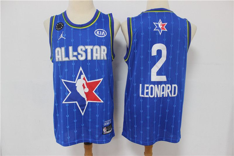 Men Los Angeles Clippers 2 Leonard Blue 2020 All Star NBA Jerseys