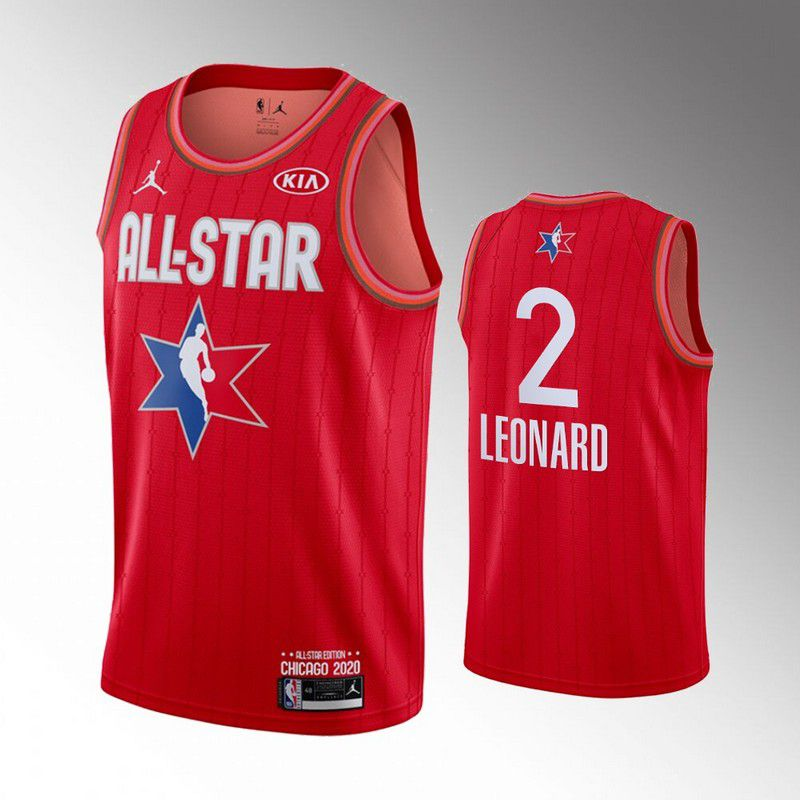 Men Los Angeles Clippers 2 Leonard Red 2020 All Star NBA Jerseys