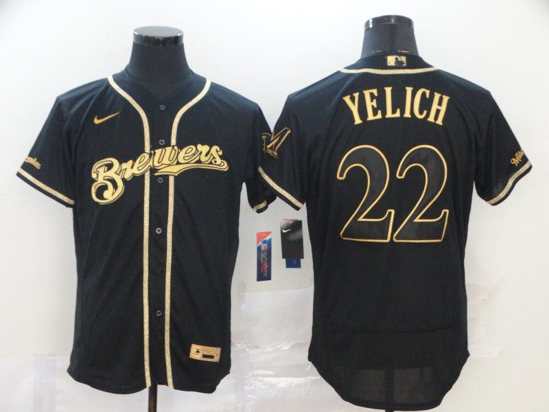 Men Milwaukee Brewers 22 Yelich Black Retro gold character Nike MLB Jerseys