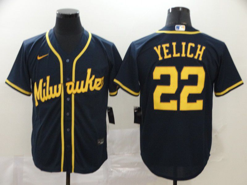 Men Milwaukee Brewers 22 Yelich Blue Nike Game MLB Jerseys