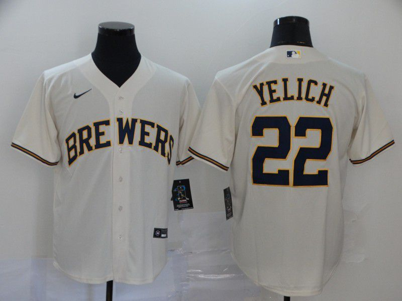 Men Milwaukee Brewers 22 Yelich Cream Nike Game MLB Jerseys