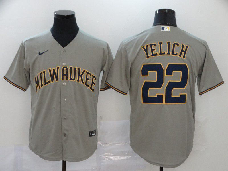 Men Milwaukee Brewers 22 Yelich Grey Nike Game MLB Jerseys