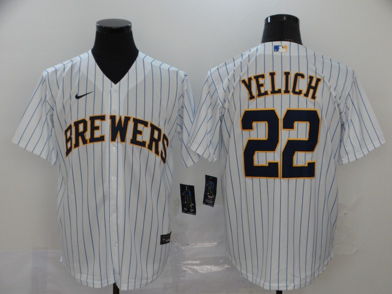 Men Milwaukee Brewers 22 Yelich White stripes Nike Game MLB Jerseys