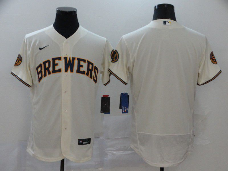 Men Milwaukee Brewers Blank Cream Nike Elite MLB Jerseys
