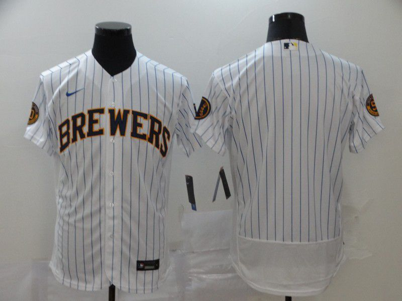 Men Milwaukee Brewers Blank White Nike Elite MLB Jerseys