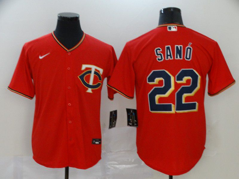 Men Minnesota Twins 22 Sano Red Nike Game MLB Jerseys