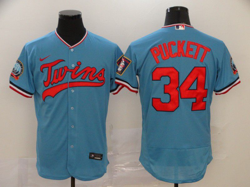 Men Minnesota Twins 34 Puckett Blue Nike Elite MLB Jerseys
