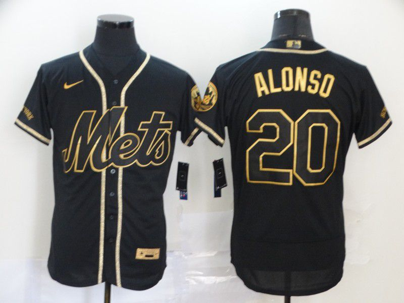 Men New York Mets 20 Alonso Black Nike Elite MLB Jerseys