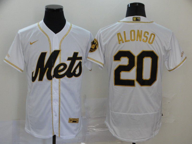 Men New York Mets 20 Alonso White Retro gold character Nike Elite MLB Jerseys
