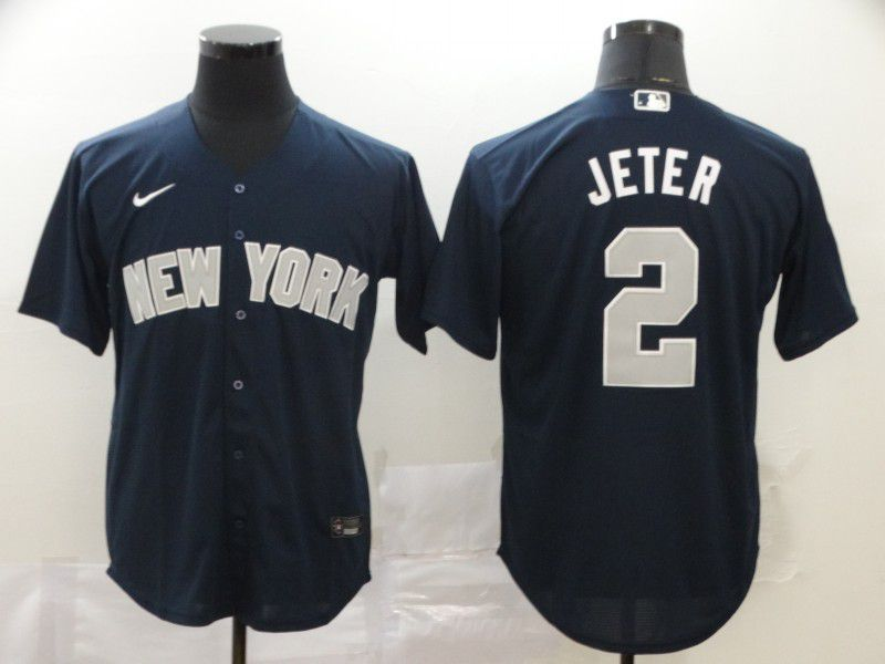Men New York Yankees 2 Jeter Blue Nike Game MLB Jerseys