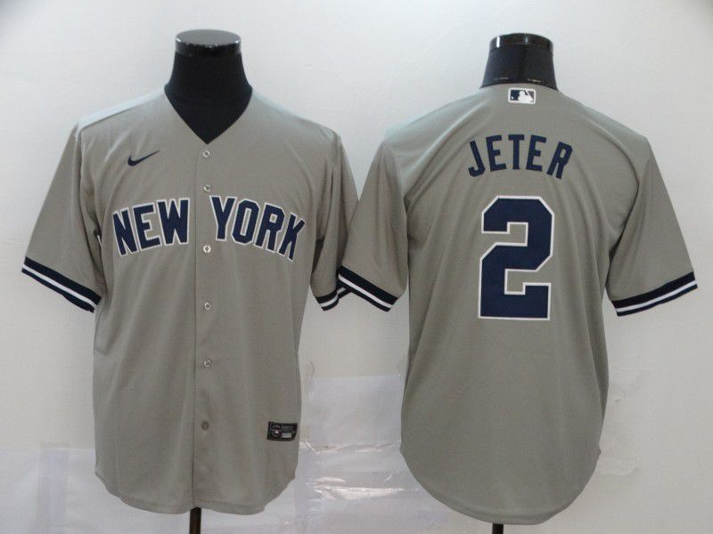 Men New York Yankees 2 Jeter Grey Nike Game MLB Jerseys