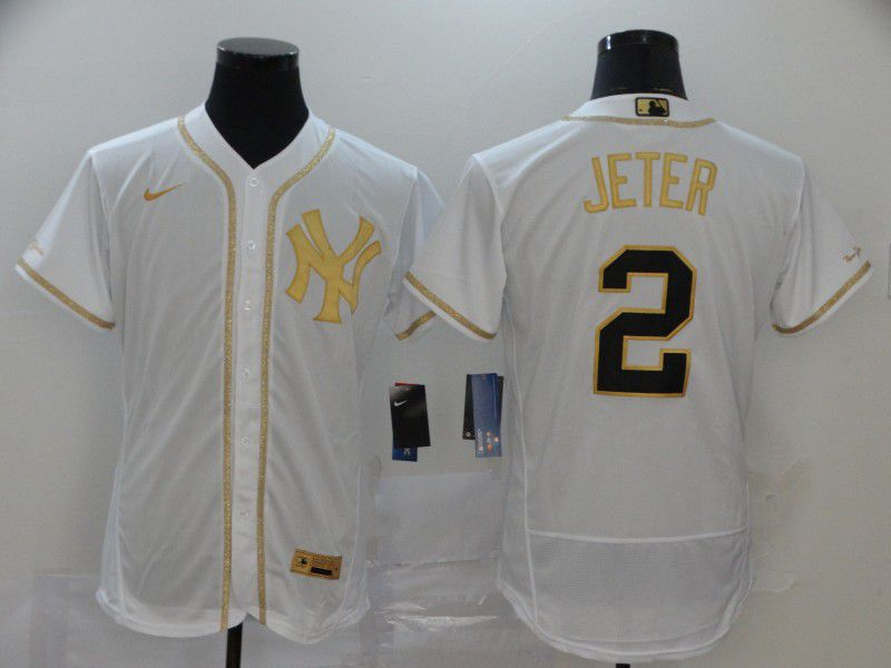 Men New York Yankees 2 Jeter White Retro gold character Nike MLB Jerseys