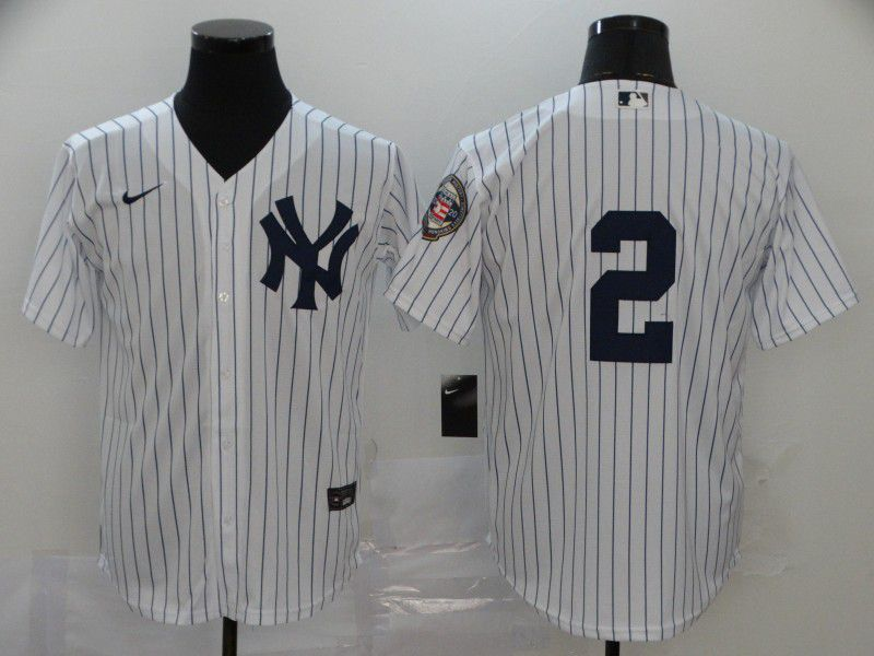 Men New York Yankees 2 No name White Nike Game MLB Jerseys