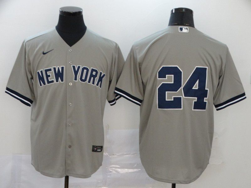 Men New York Yankees 24 No name Grey Nike Game MLB Jerseys