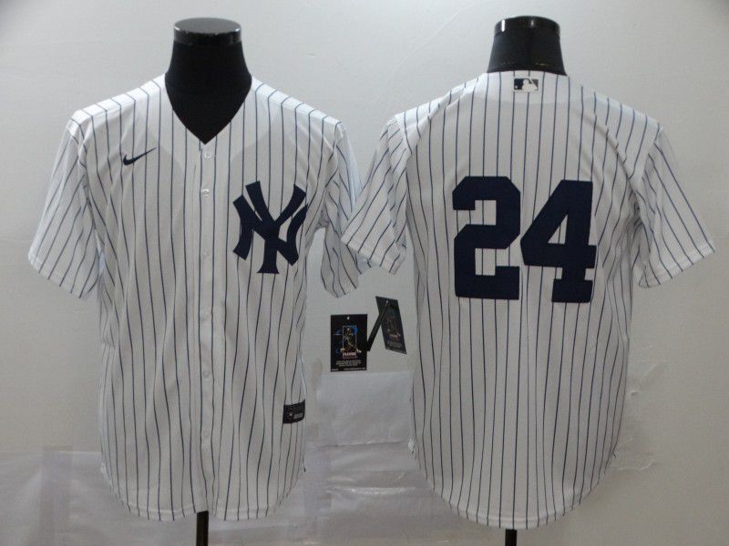 Men New York Yankees 24 No name White Nike Game MLB Jerseys