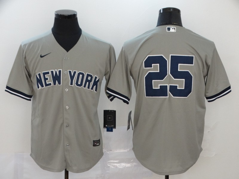 Men New York Yankees 25 No name Grey Nike Game MLB Jerseys