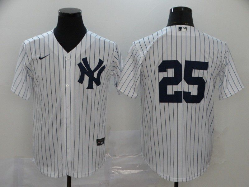Men New York Yankees 25 No name White Nike Game MLB Jerseys