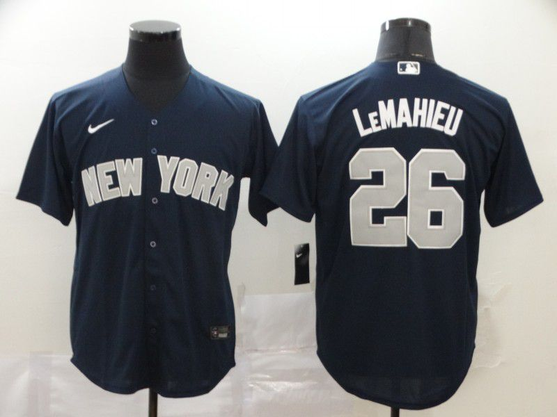 Men New York Yankees 26 Lemahieu Blue Nike Game MLB Jerseys