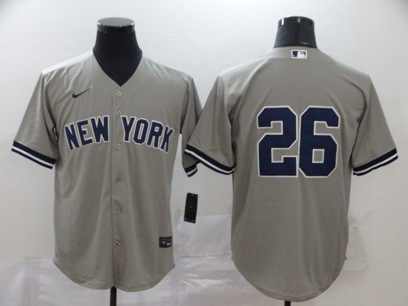 Men New York Yankees 26 No name Grey Nike Game MLB Jerseys
