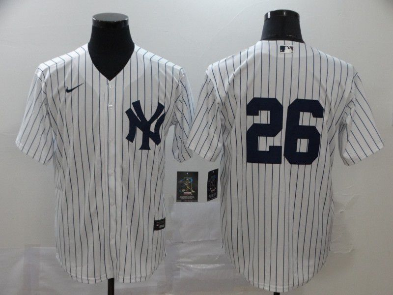 Men New York Yankees 26 No name White Nike Game MLB Jerseys