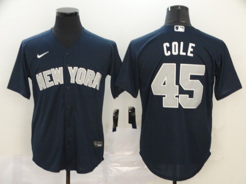 Men New York Yankees 45 Cole Blue Nike Game MLB Jerseys