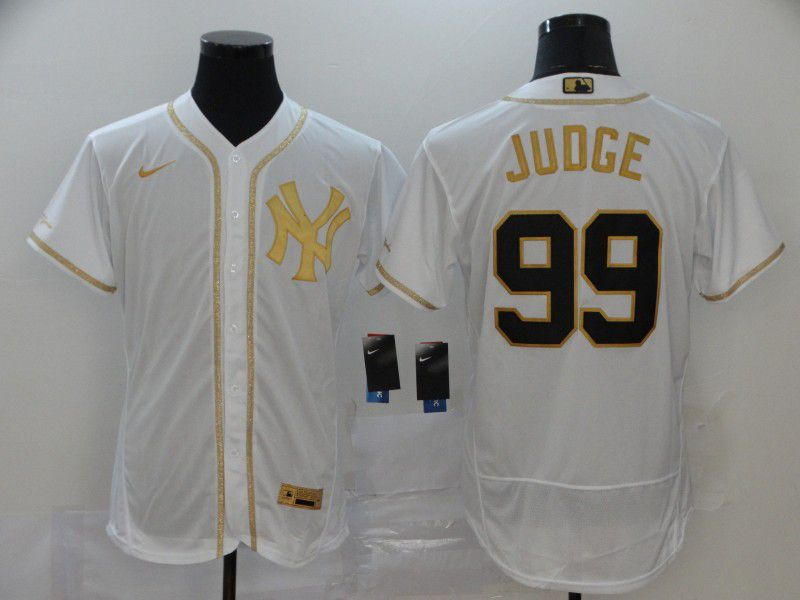 Men New York Yankees 99 Juoge White Retro gold character Nike MLB Jerseys