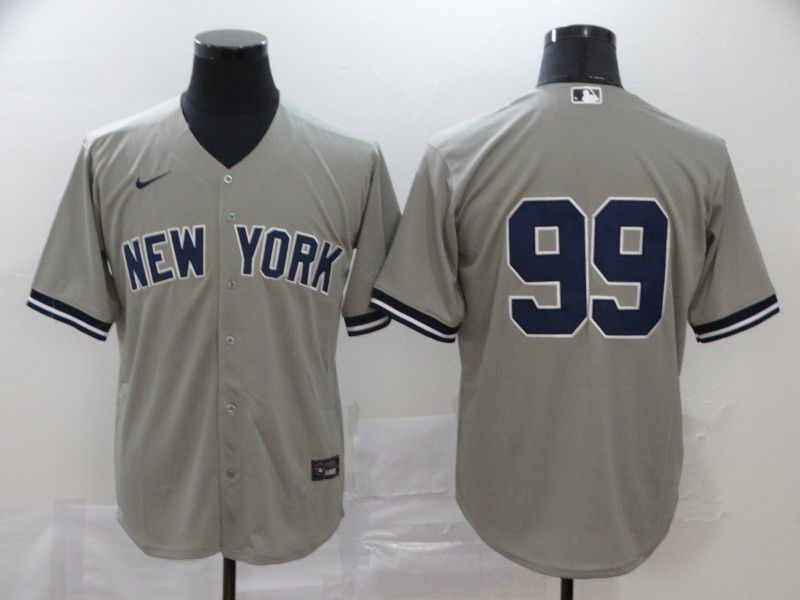 Men New York Yankees 99 No name Grey Nike Game MLB Jerseys