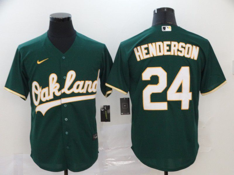 Men Oakland Athletics 24 Henderson Green Nike Game MLB Jerseys