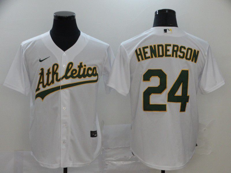 Men Oakland Athletics 24 Henderson White Nike Game MLB Jerseys