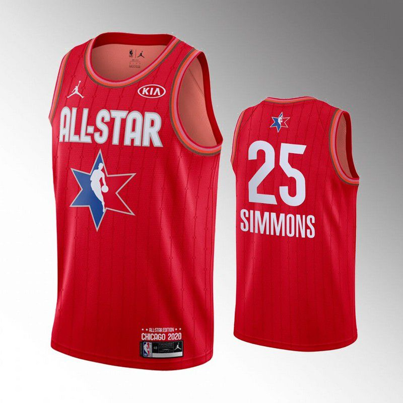 Men Philadelphia 76ers 25 Simmons Red 2020 All Star NBA Jerseys