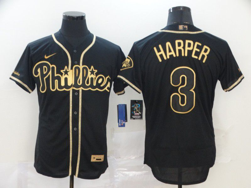 Men Philadelphia Phillies 3 Harper Black Retro gold character Nike MLB Jerseys