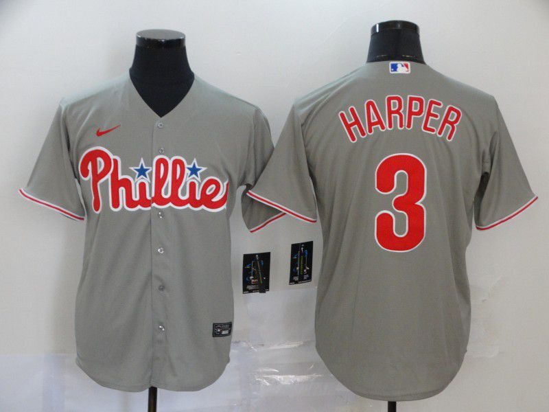 Men Philadelphia Phillies 3 Harper Grey Game Nike MLB Jerseys
