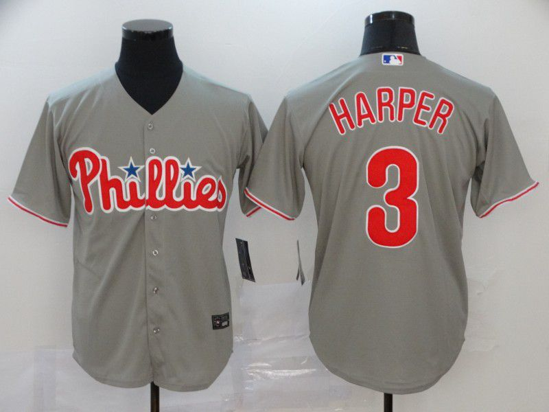 Men Philadelphia Phillies 3 Harper Grey Nike Game MLB Jerseys
