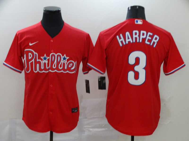 Men Philadelphia Phillies 3 Harper Red Nike Game MLB Jerseys