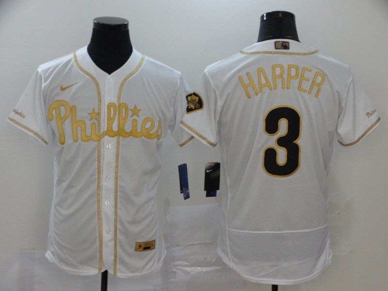Men Philadelphia Phillies 3 Harper White Retro gold character Nike MLB Jerseys