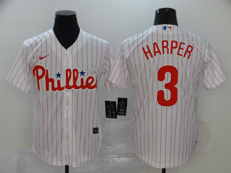 Men Philadelphia Phillies 3 Harper White stripes Nike Game MLB Jerseys