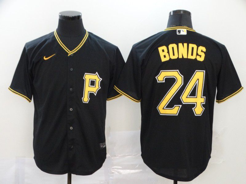 Men Pittsburgh Pirates 24 Bonds Black Nike Game MLB Jerseys